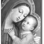 Jesus and Virgin Mary Image Black and white