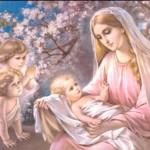 Jesus and Virgin Mary Image angel beside