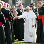 Pope Benedict XVI is introduced by Cardinal George Pell