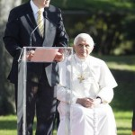 Pope Benedict XVI listens as Australian Prime Minister welcomes him
