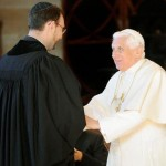 Pope Benedict XVI shakes hands with Rabbi Jeremy Lawrence