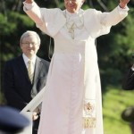 Pope Benedict XVI waves after he arrives at Government House in Sydney