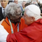 Pope embraces an aboriginal elder
