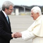 Pope is welcomed to Australia by Prime Minister Kevin Rudd