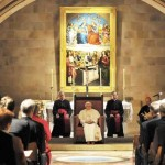Pope  listens at St Marys Cathedral Crypt
