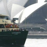The World Youth Day Cross is transported across Sydney Harbor