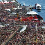 Thousands of pilgrims wait for the arrival of Pope Benedict XVI