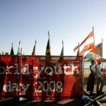 Youths walk with flags at the Barangaroo East Darling Harbour in Sydney.