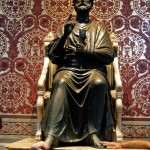 Bronze statue of St. Peter Enthroned