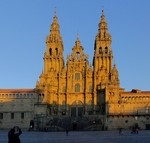Plaza and facade at sunset