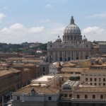St.peters basilica over the rooftops of vatican city