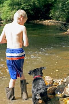 Crippled boy with Dog