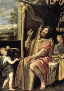 David the king praying and praising God