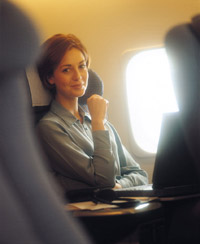 Lady in plane with Bible