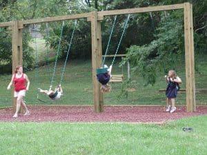 Swinging in park