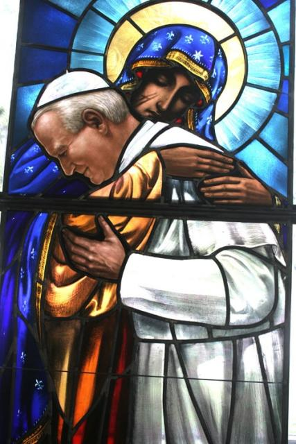 pope on glass window