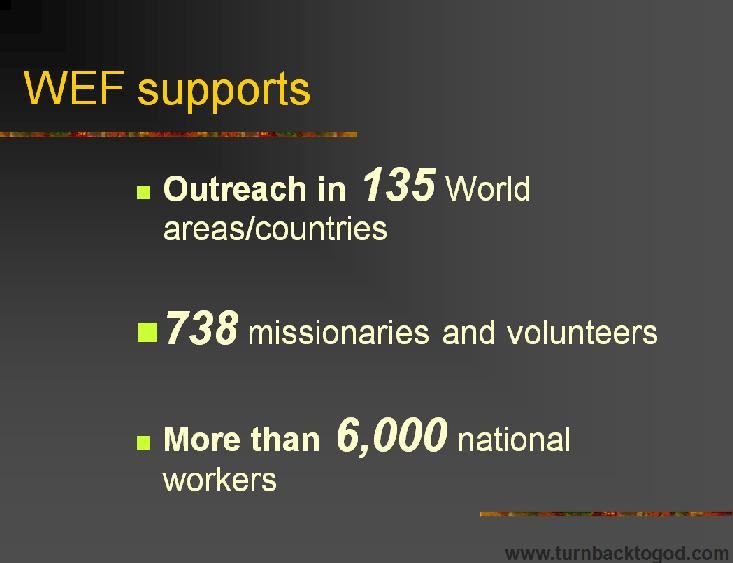 Slideshow : World Evangelism Fund