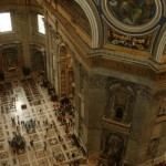 Looking down inside dome of St. Peter\'s Basilica