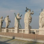 The roof top view of the statues on the facade