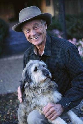 elderly man and dog
