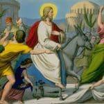 Jesus Christ riding into Jerusalem for Passover