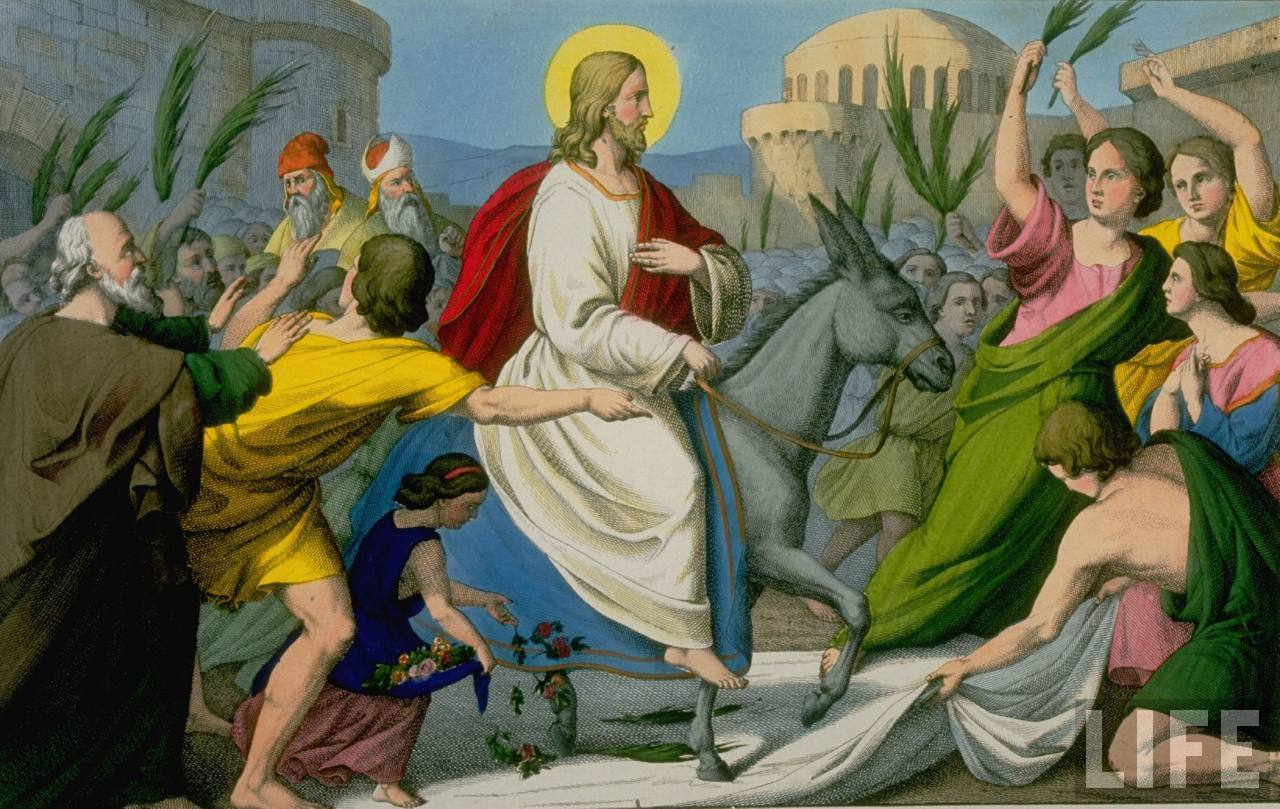 Jesus Christ riding into Jerusalem for Passover