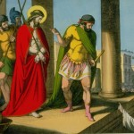 Jesus Christ wearing a scarlet robe before mob