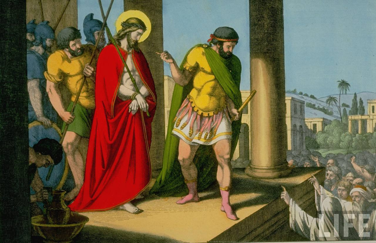 jesus-christ-wearing-a-scarlet-robe-befo