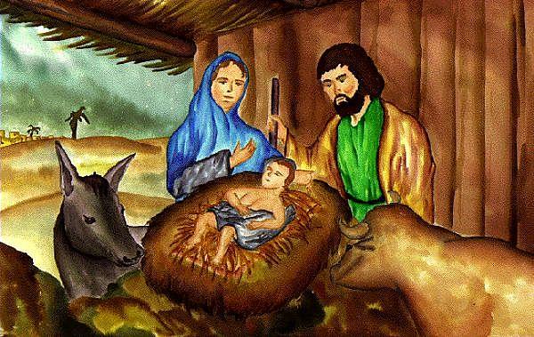 Jesus Mary Joseph in manger