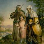 Jesus returning with parents Mary and Joseph to Nazareth