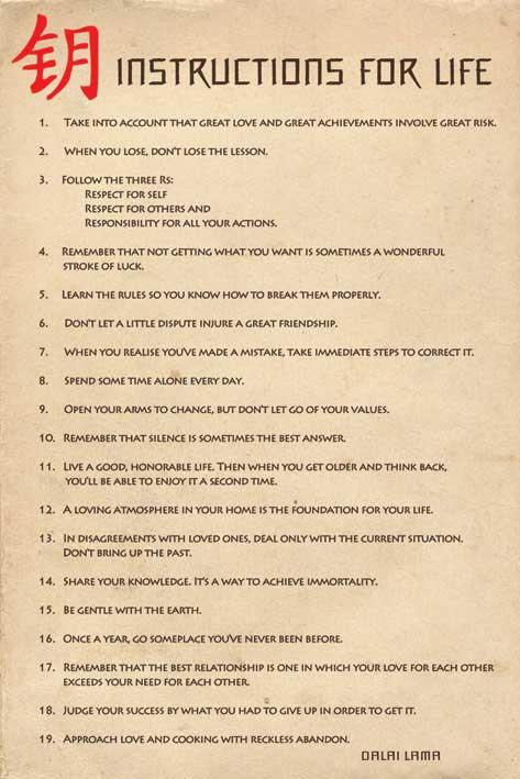 Instructions For Life by Dalai Lama