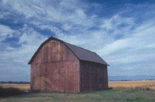 Jesus-image-on-a-leaning-barn