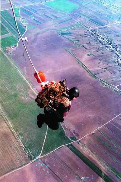 Paratrooper jumping