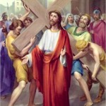 Jesus is made to carry His Cross