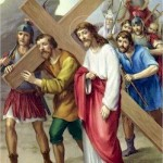 Simon of Cyrene helps Jesus carry His Cross