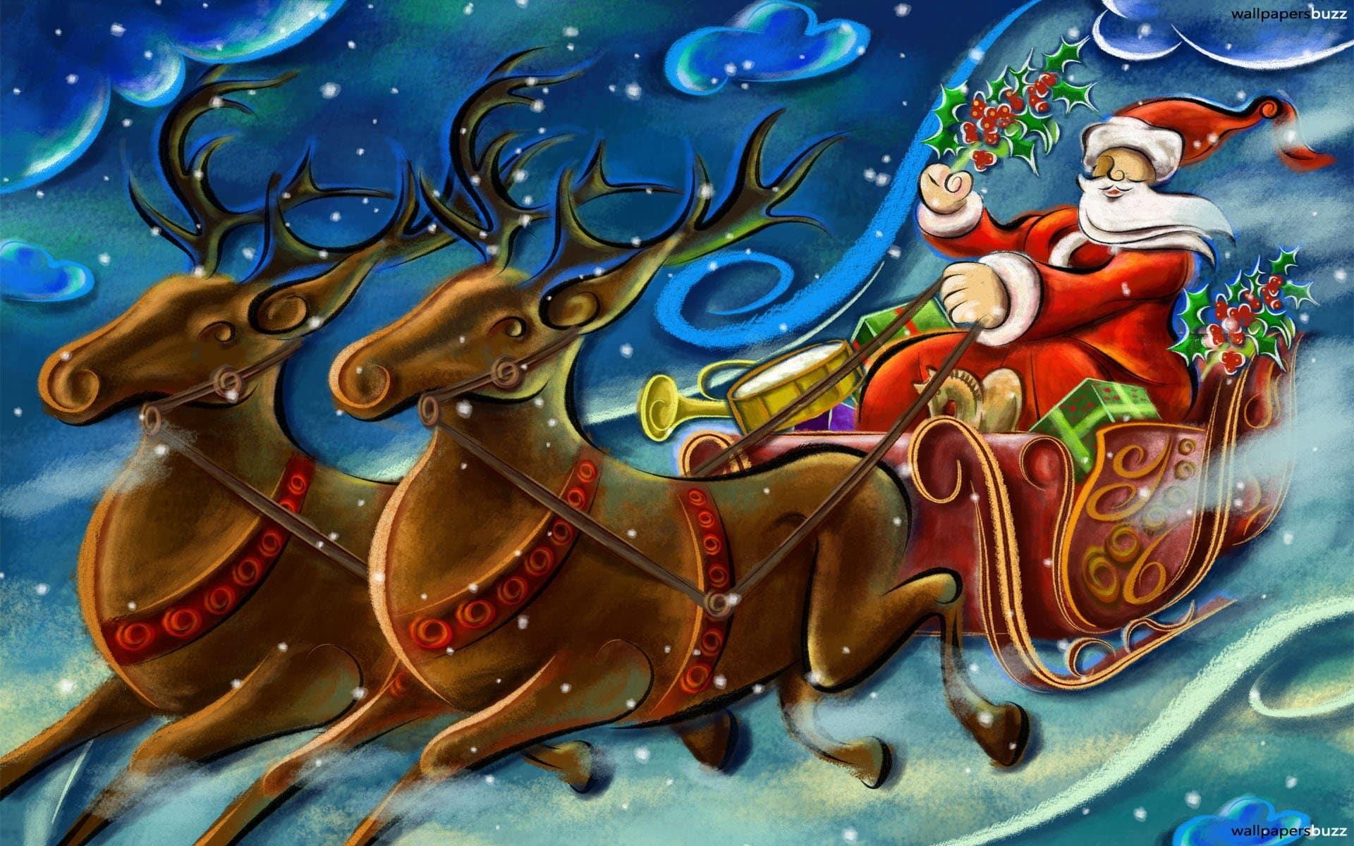 Santa Claus Sleigh Reindeer eBay Template, Free Santa Claus Sleigh ...