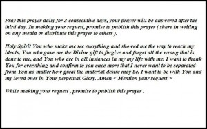 Miraculous prayer to the holy spirit
