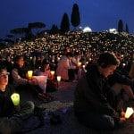 Pilgrims during a prayer vigil on April 30th