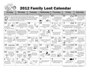 Family Lent Calendar 2012