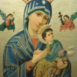 Virgin Mary & Jesus - Old Icon Lithograph
