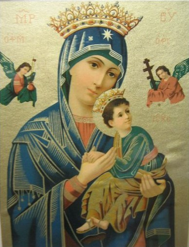 virgin mary jesus old icon lithograph