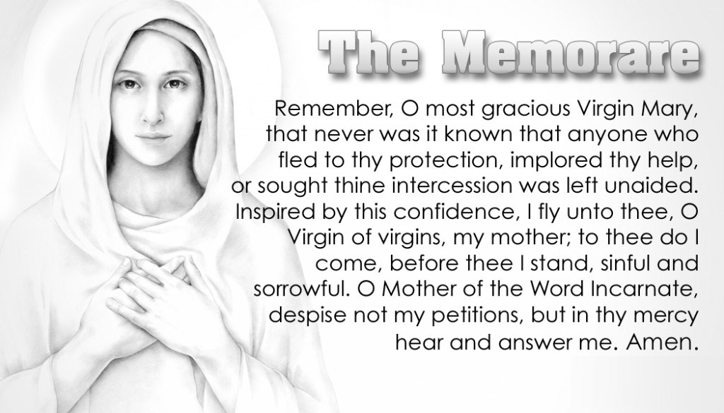 Insane image with regard to memorare prayer printable